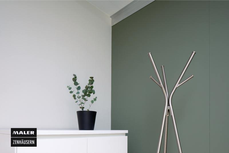 Grün angestrichener Innenraum