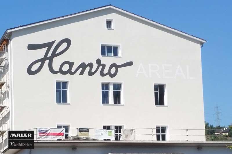 Logo Gestaltung an der Hauswand des Hano Areals