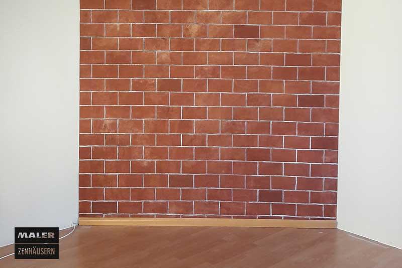 Backstein Malerei im Wohnzimmer