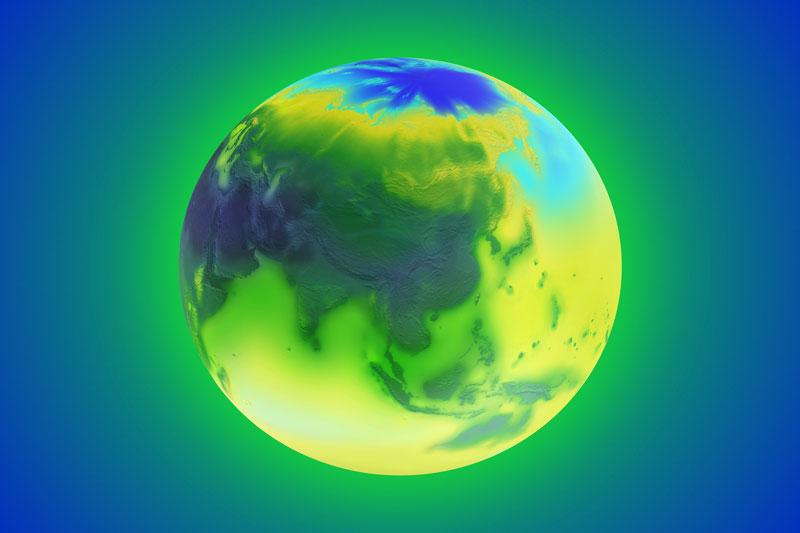 Erde in grün-blau Tönen