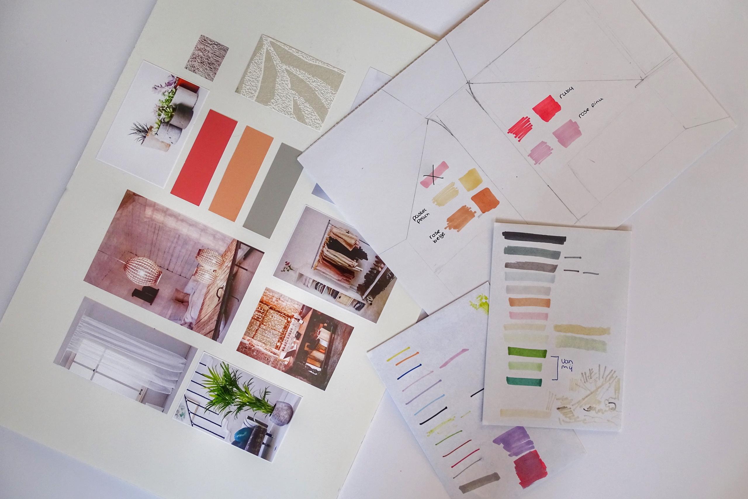 Foto eines Moodboards zum Thema Raumgestaltung und Farbspiel