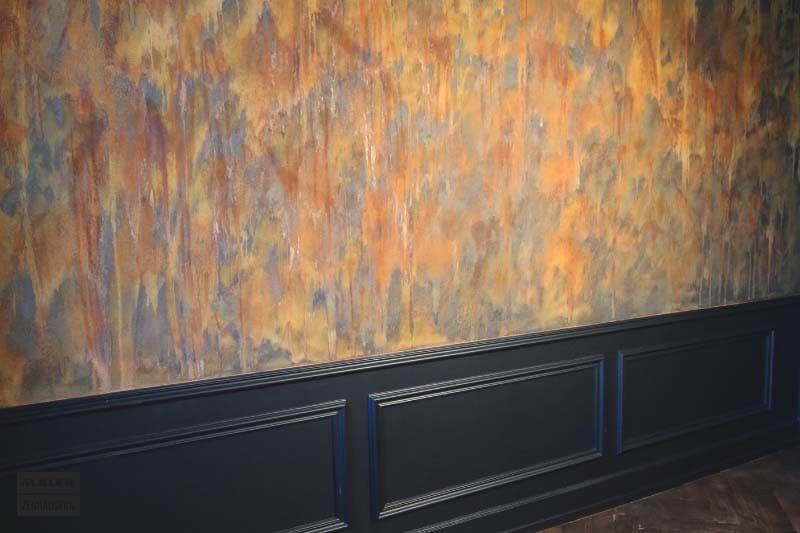 Foto einer Wand, die mit Rostoptik bearbeitet wurde